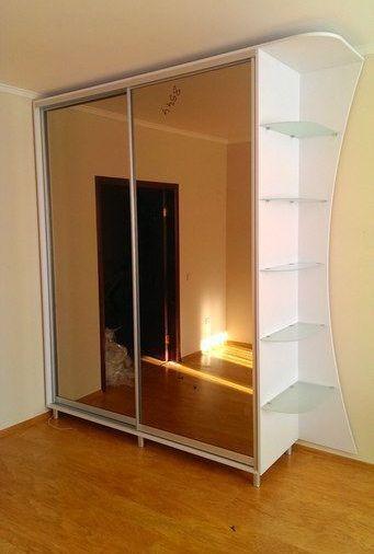 Белые шкафы-купе-Шкаф-купе с зеркалом «Модель 140»-фото1