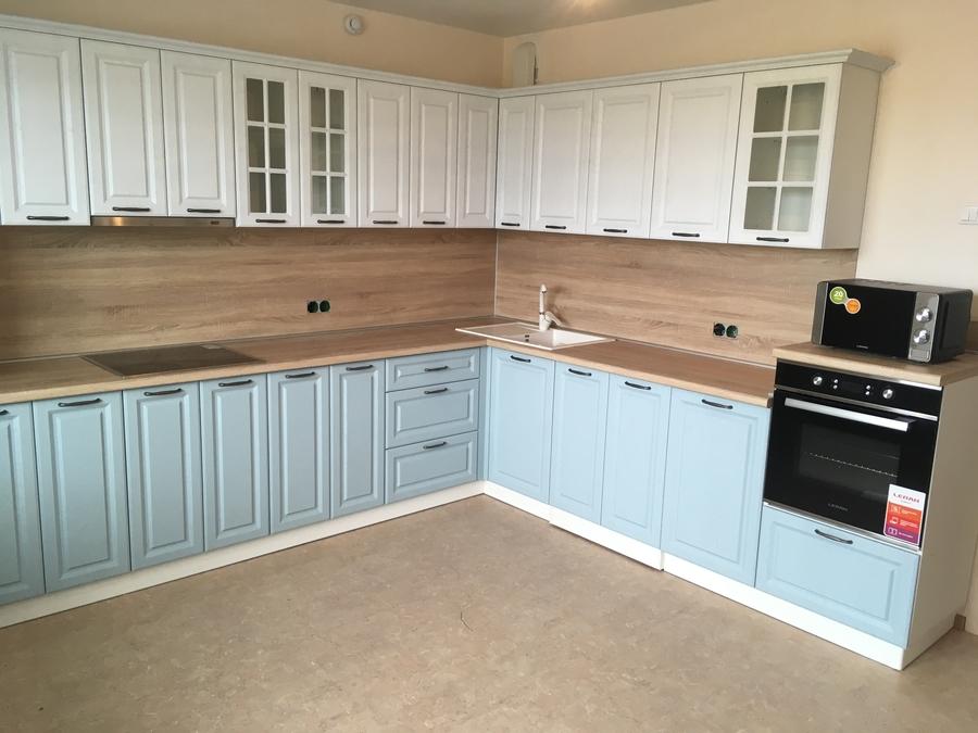 Белый кухонный гарнитур-Кухня МДФ в ПВХ «Модель 65»-фото1