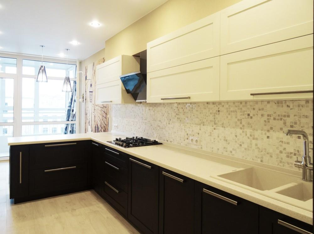 Белый кухонный гарнитур-Кухня МДФ в ПВХ «Модель 26»-фото3