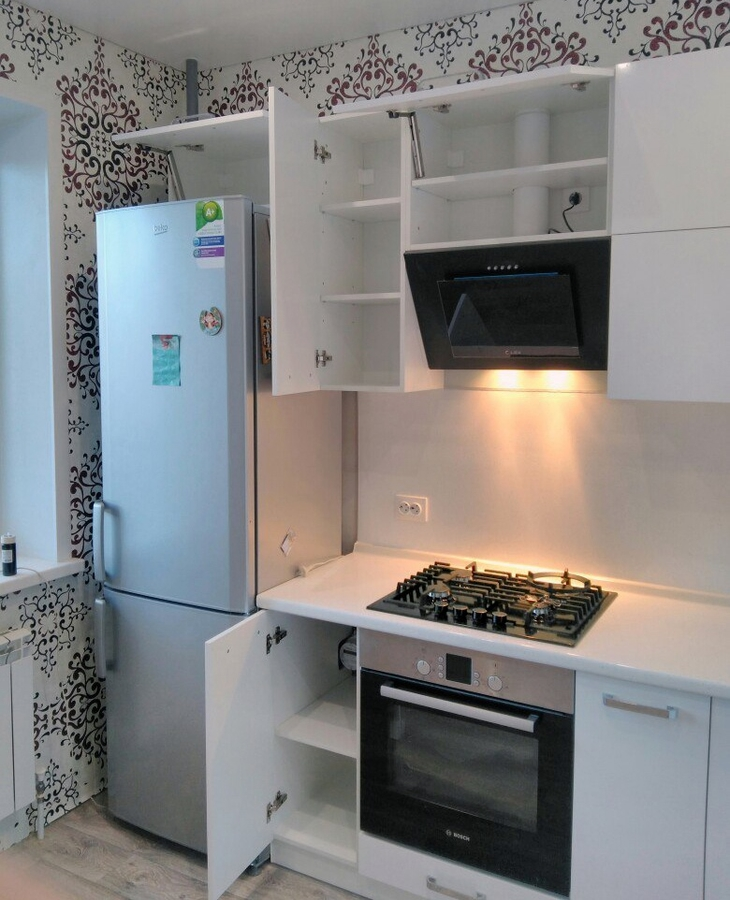 Белый кухонный гарнитур-Кухня из пластика «Модель 468»-фото4