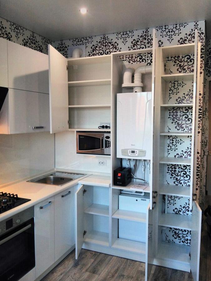 Белый кухонный гарнитур-Кухня из пластика «Модель 468»-фото5