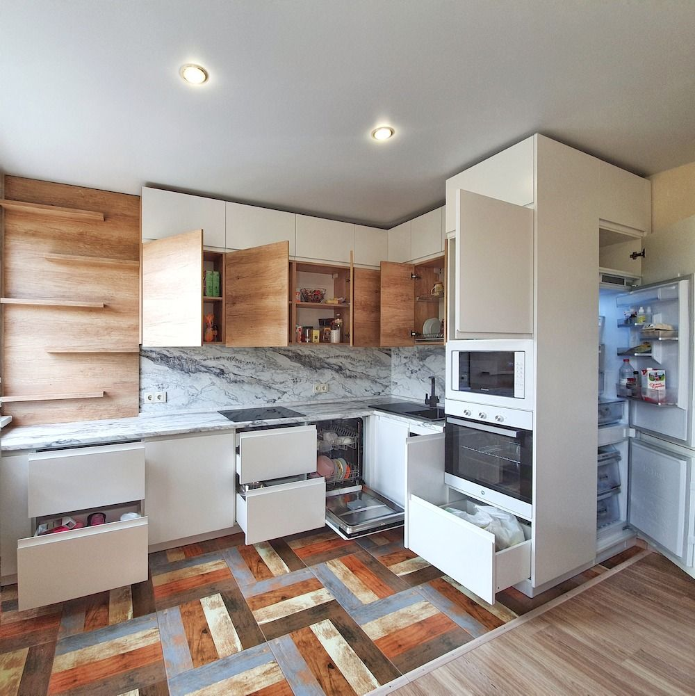 Белый кухонный гарнитур-Кухня МДФ в эмали «Модель 526»-фото5