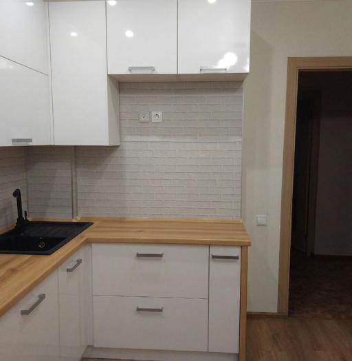Белый кухонный гарнитур-Кухня из пластика «Модель 376»-фото2