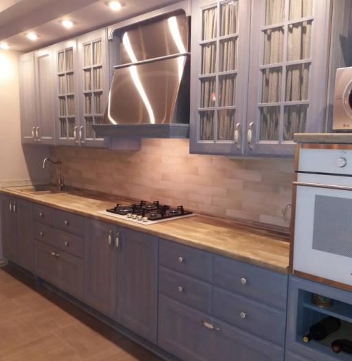 Встроенная кухня-Кухня из массива ясеня «Модель 490»-фото3